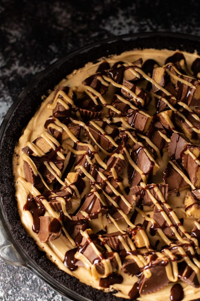 Peanutbutter pie with Reese's and peanut butter sauce.