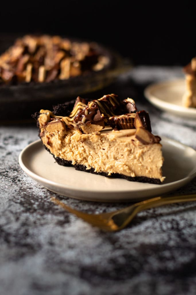 A slice of peanut butter pie.