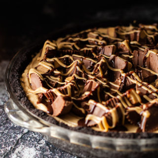 Peanut butter pie topped with peanut butter cups.