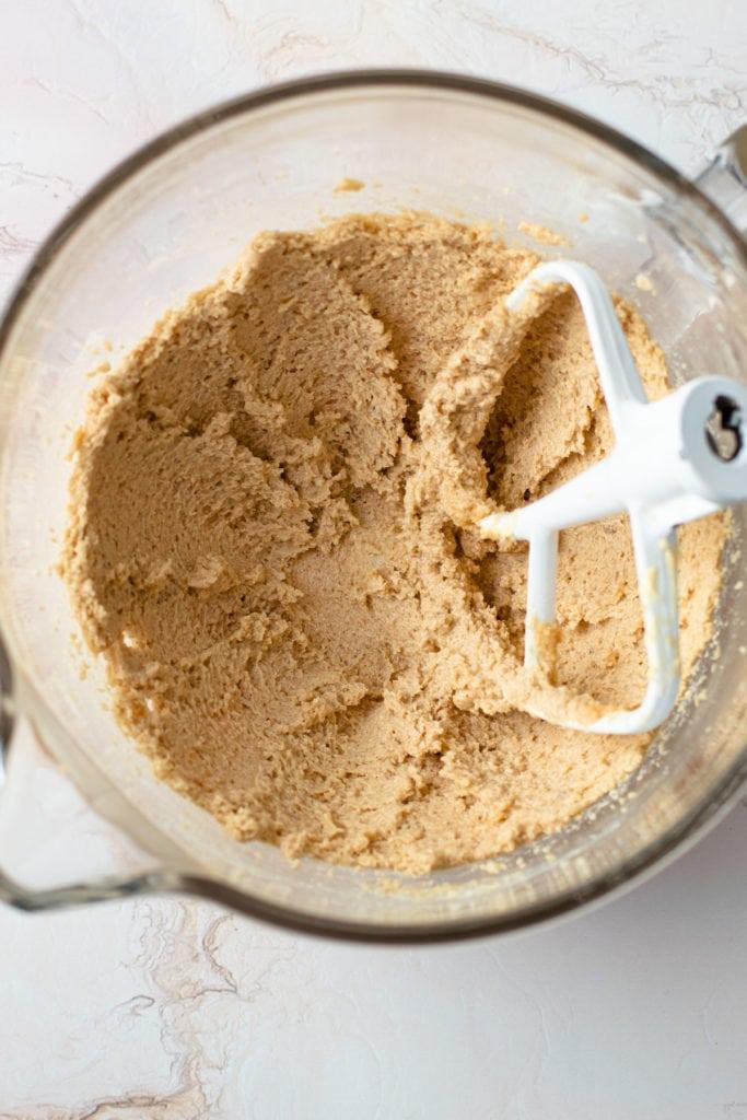 Brownie pecan pie batter in a mixer.