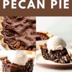 A slice of a brownie pecan pie with ice cream on top with two other different angles.