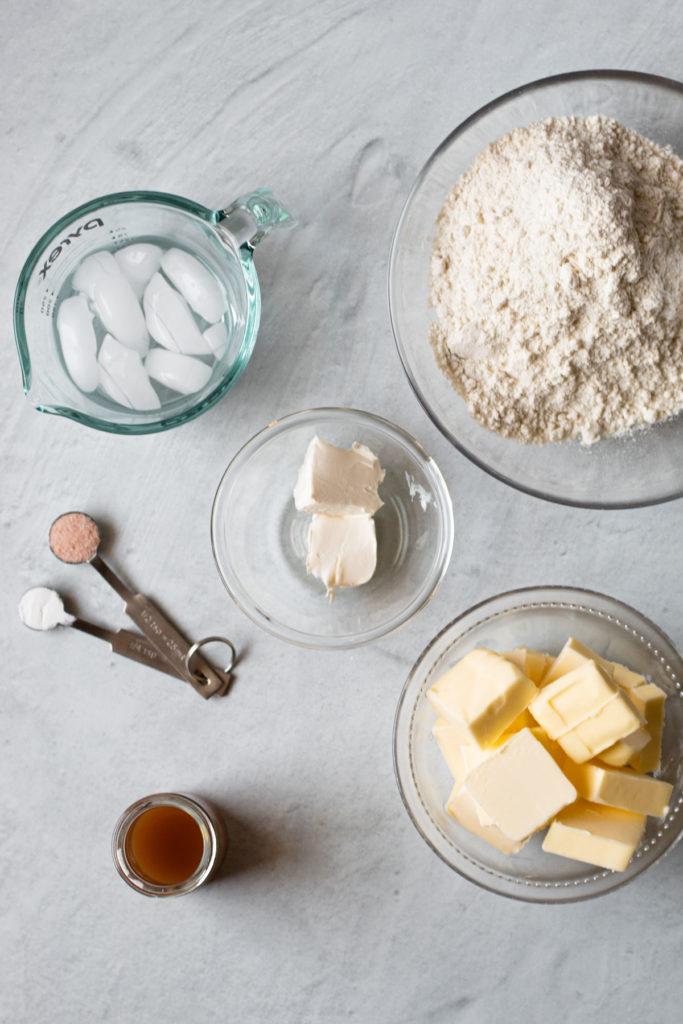 Ingredients for gluten-free pie dough.