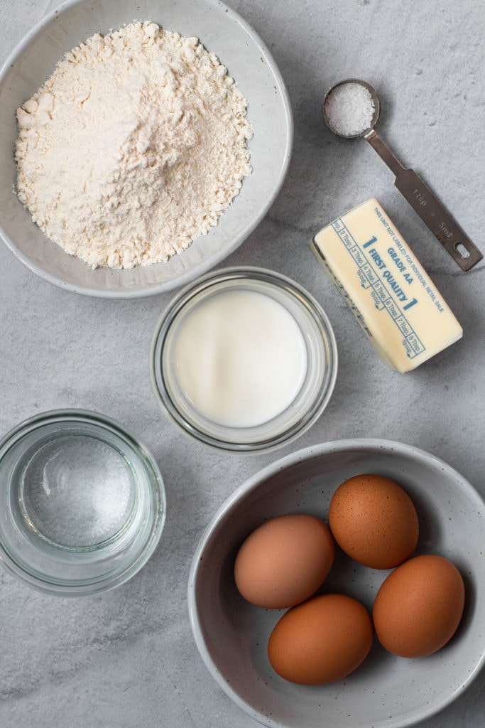 Ingredients for choux pastry.