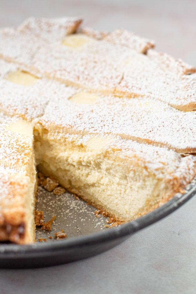 A ricotta pie with a lattice pie crust.