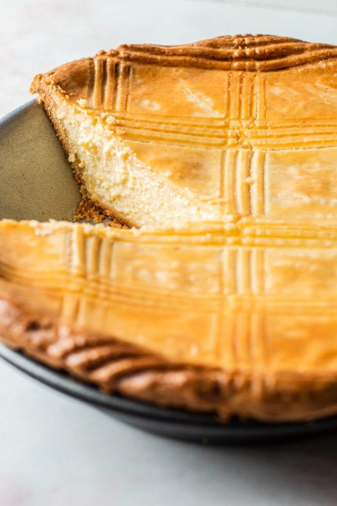 A sliced ricotta pie.