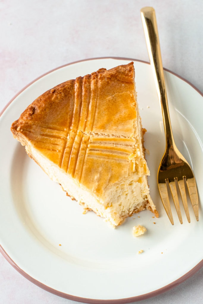 A slice of ricotta pie.