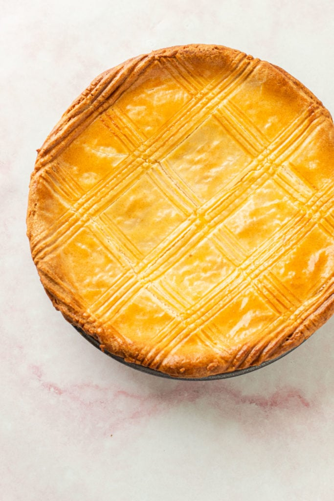 A ricotta pie with a double crust.