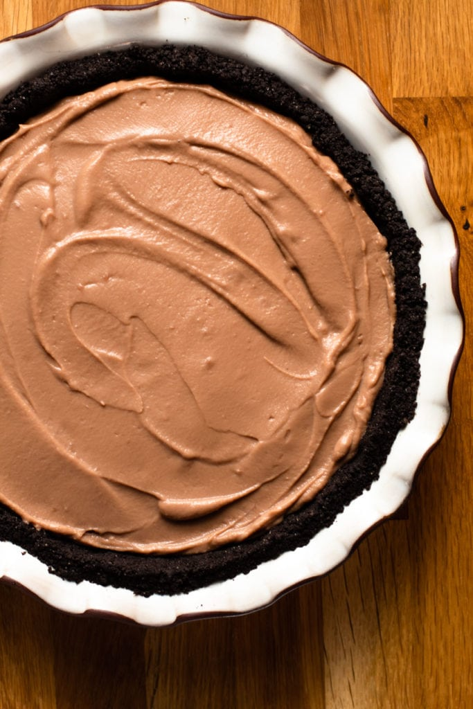 Milk Chocolate pudding in a pie crust.