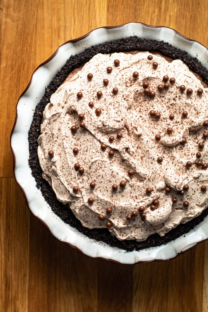 Mississippi Mud Pie with chocolate shavings and pearls on top.
