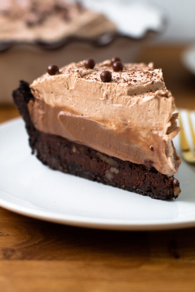 Mississippi mud pie with five different layers of chocolate.