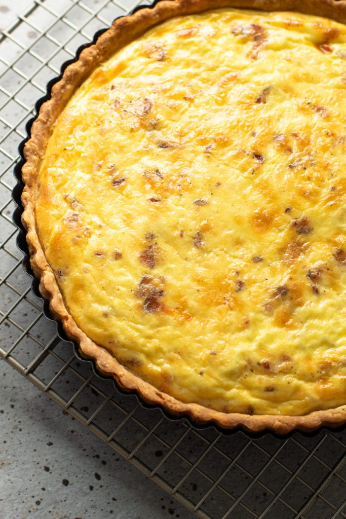 Quiche lorraine puffed up from baking.