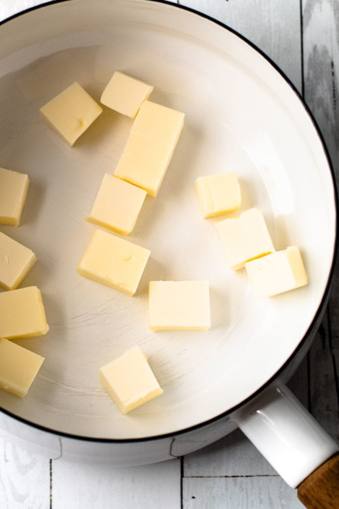 Butter in a white pot.