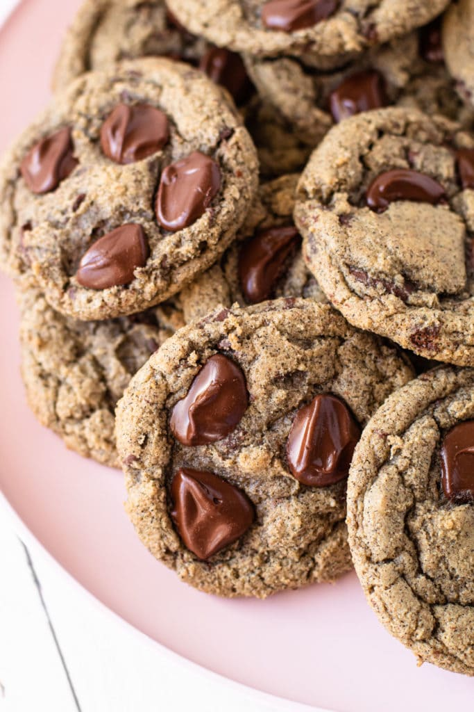 Oat Flour and Buckwheat Chocolate Chip Cookies on a plate.