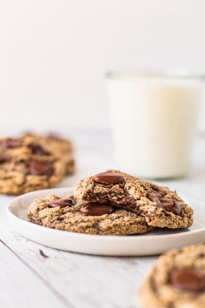 Buckwheat chocolate chip cookies on a plate.