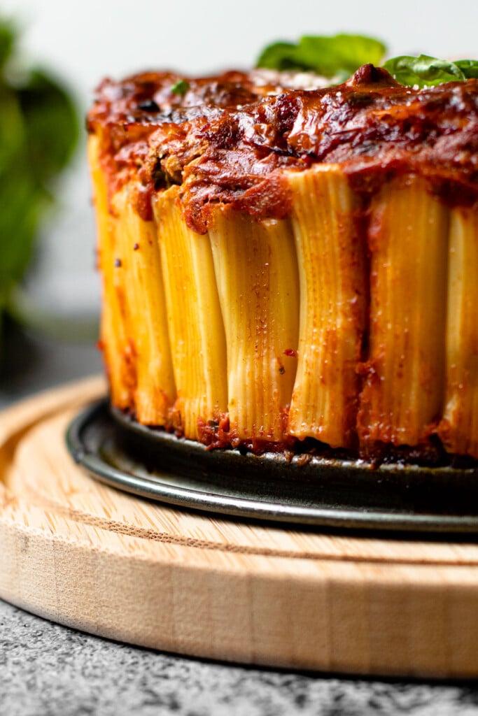 Rigatoni pie on a serving platter.