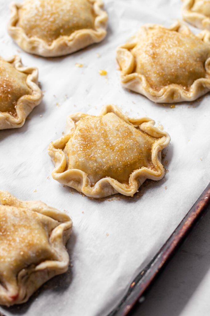 Hand pies formed on a sheet tray.