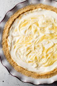 A swirled creamy lemon pie.