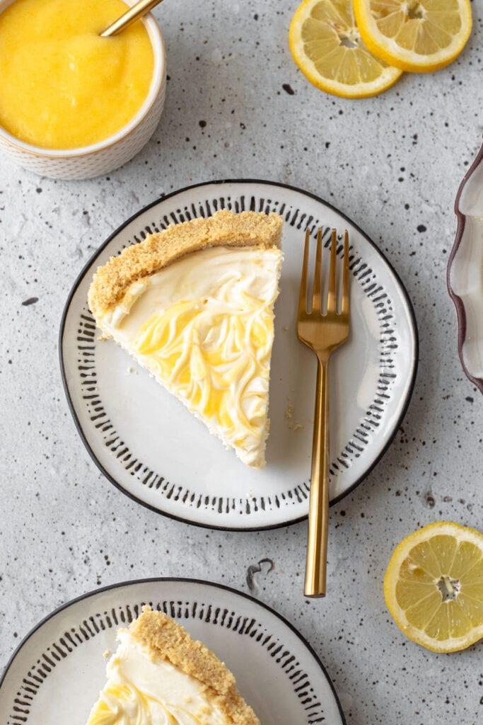 A slice of icebox lemon pie on a plate.