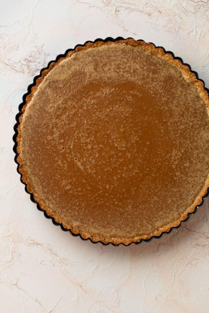 A peanut butter custard all baked up.