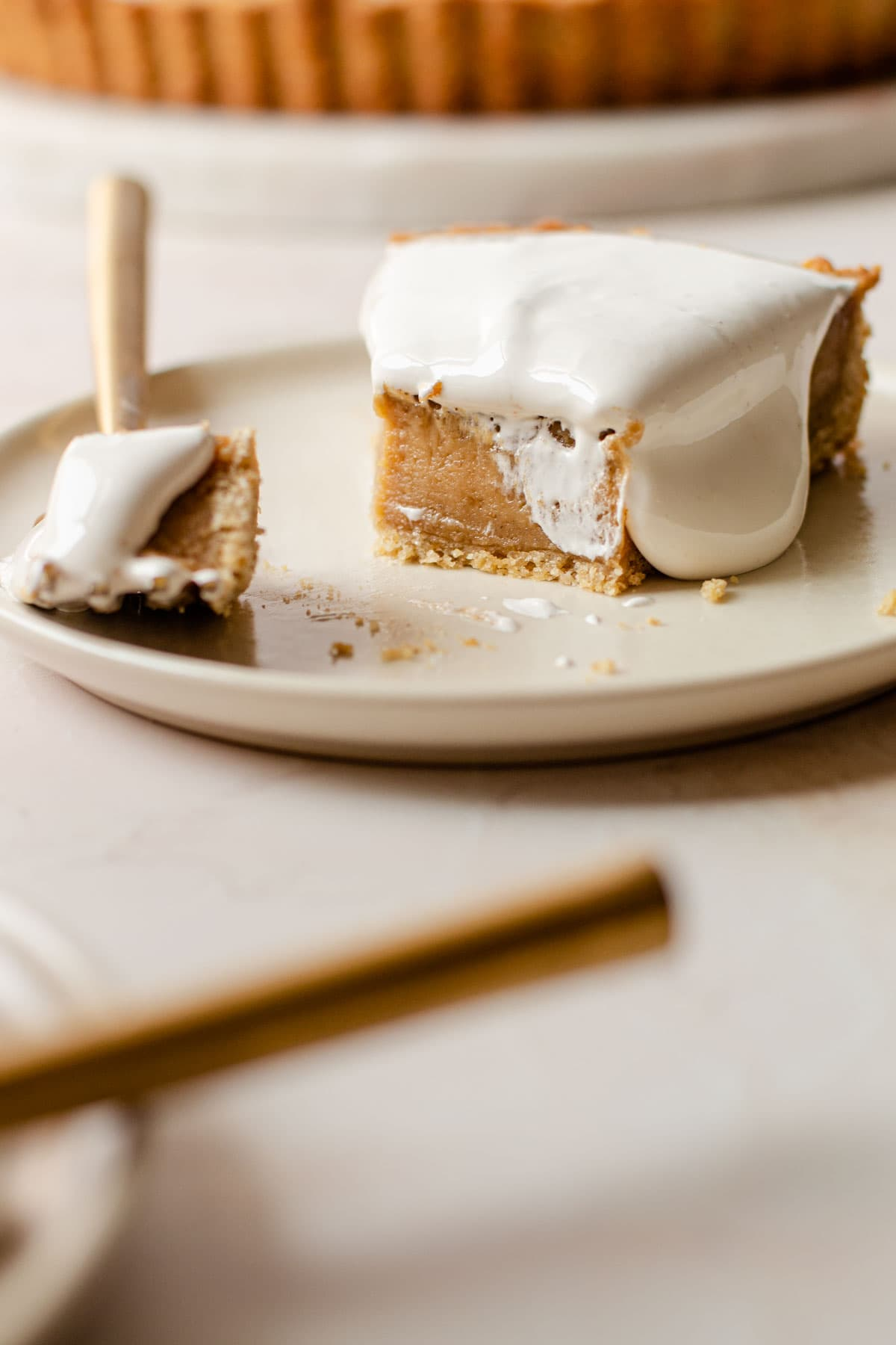 A peanut butter and fluff tart slice.