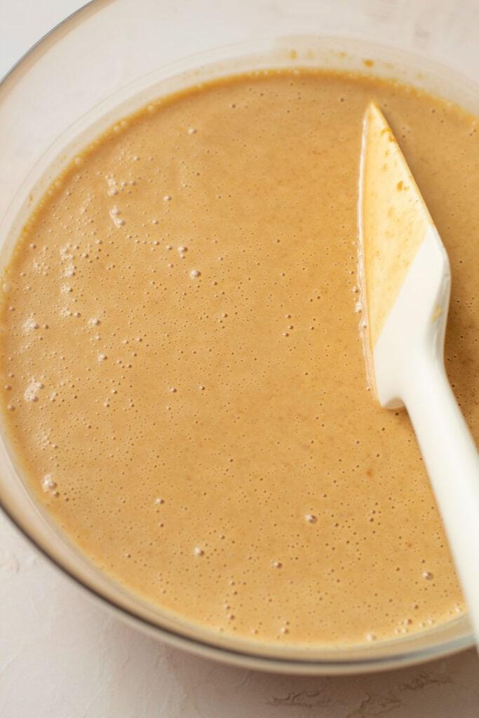 Smooth peanut butter custard ingredients.