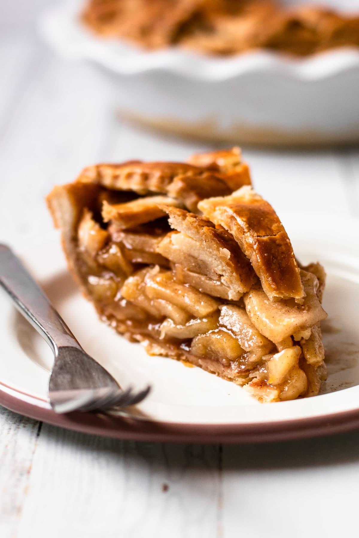 A slice of gluten-free apple pie.